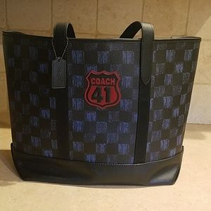 Coach Midnight navy multi checkered Black Bag.
